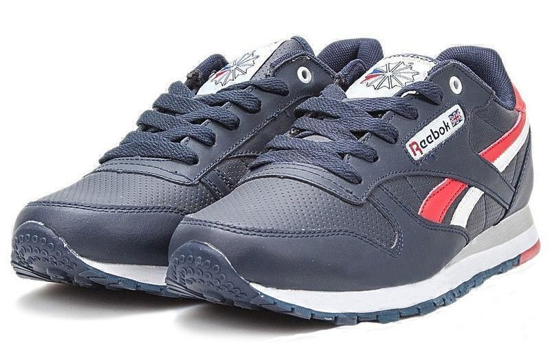 Кроссовки Reebok Classic Leather (Dark Blue/White/Red) фото в «GetKeds»