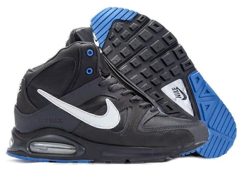 Кроссовки Nike Air Max Skyline High with Fur (Black/White/Blue) фото в «GetKeds»
