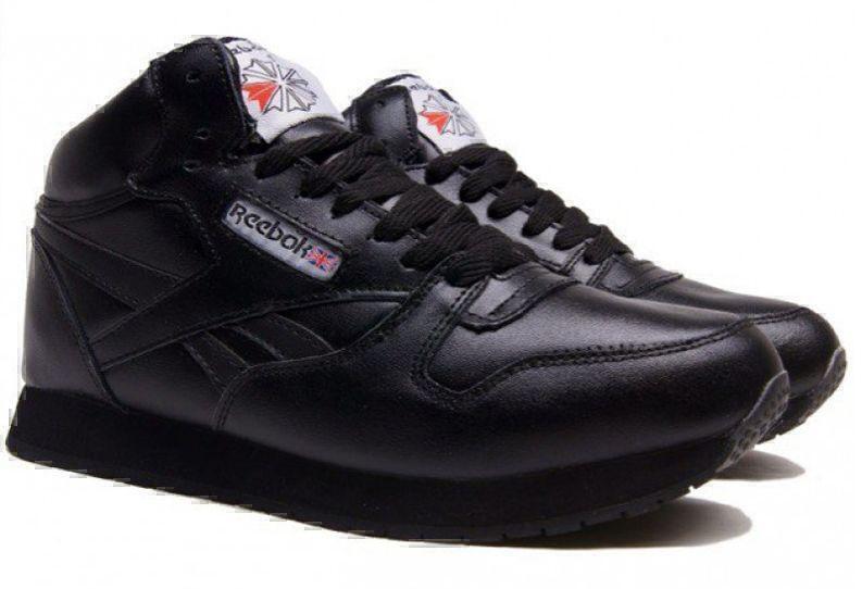 Reebok Classic Leather High With Fur (All Black) фото #2 в «GetKeds»