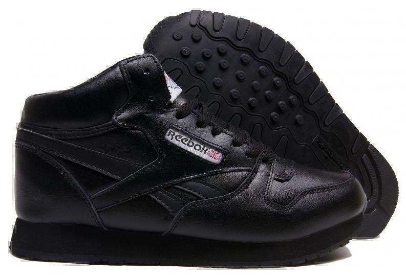 Кроссовки Reebok Classic Leather High With Fur (All Black) фото в «GetKeds»