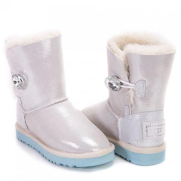 Угги UGG Kids Bailey Button I Do White фото в «GetKeds»
