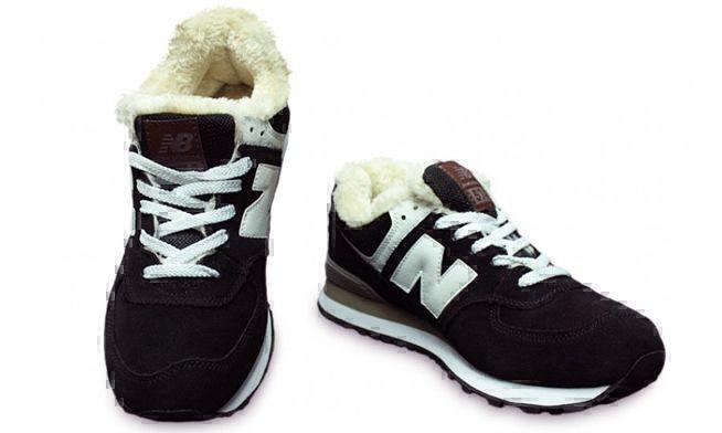 New Balance 574 With Fur (Black/White) фото #3 в «GetKeds»
