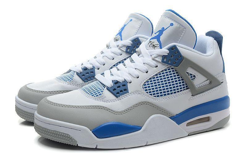 Кроссовки Air Jordan 4 Retro Military Blue (White/Blue/Grey) фото в «GetKeds»