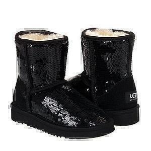 Угги UGG Kids Classic Short Sparkles Black