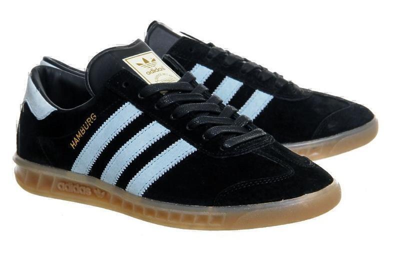 Кроссовки Adidas Hamburg (Black/Light Blue) фото в «GetKeds»