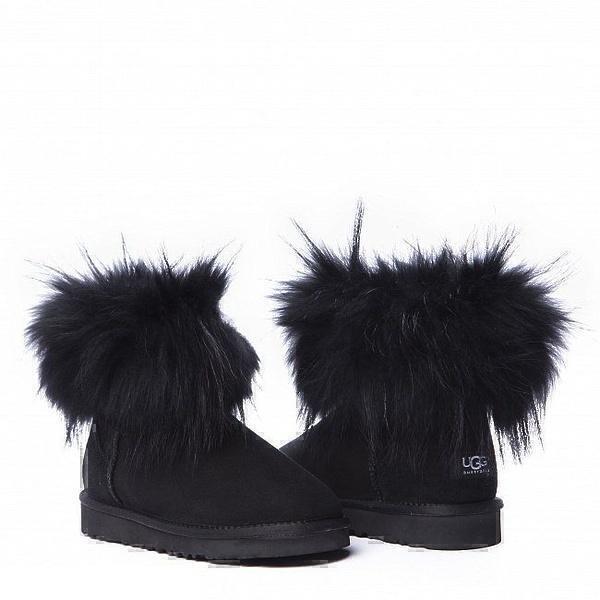 Угги UGG Fox Fur Mini Ultra Black фото в «GetKeds»