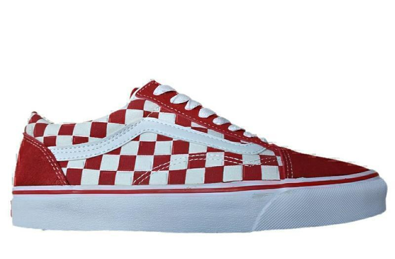 vans old skool checks red