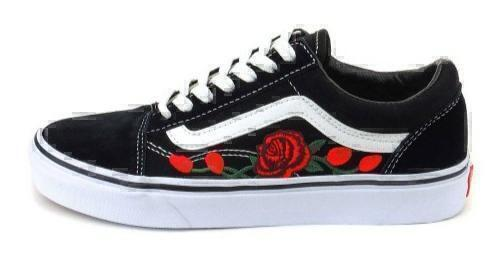 Кеды Vans Old Skool roses (Black/White) фото в «GetKeds»